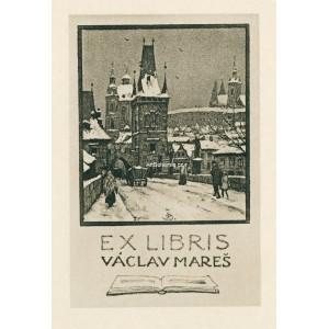 Pohled z Karlova mostu na zasněžené mostecké věže, opus 45