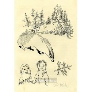 Děti a jezevec u chaloupky