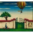 Krajina s balónem a cyklistkou