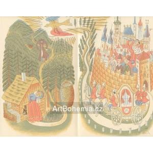 Duhový pták nad lesem a kočár s městem, opus 655