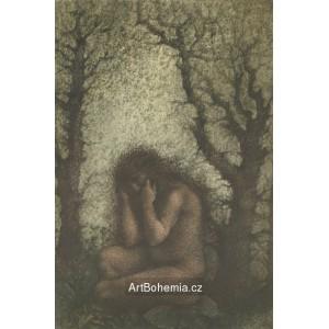 Sedící akt v lese (Záhořovo lože)