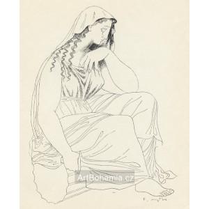 Sedící na sloupu s dýkou (Ovidius)