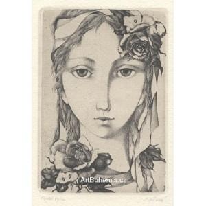 Dívčí hlava v růžích