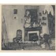 Femme allumant un poele dans un atelier (1925)