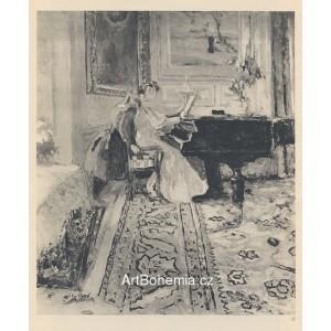 Mme Fontaine au piano et sa fille