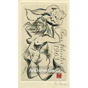 Mořská panna s mušlí - PF 1963 Bedřich Housa