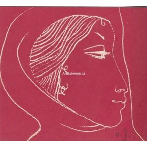 Dívčí profil v šátku hledící vpravo