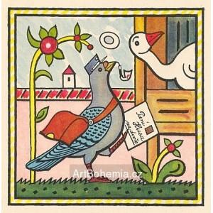 Poštovní holub. Nese holub psaní, do dvora s ním klusá…