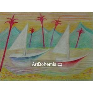 Lodě a červené palmy