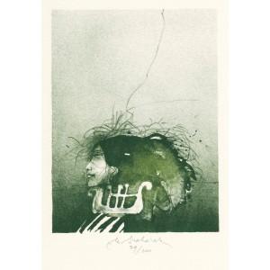 Dívčí profil s lyrou (Úsměvy Grafičanky)