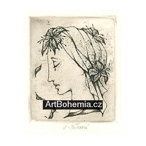 Plačící dívčí profil s padajícími listy