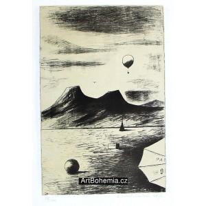 Míč, krabice, stan a balón v krajině (Hommage à Alois Senefelder II)