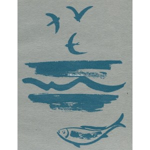Moře s racky a rybou - modrá varianta