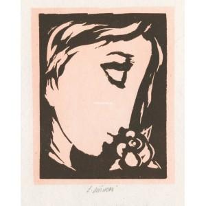 Profil dívčí hlavy s růží, opus 1134