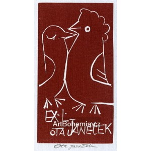 Dva líbající se ptáčci - EXL Ota Janeček (červená varianta - šedý papír)