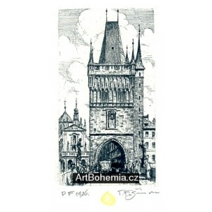 Mostecká věž a Křižovnické náměstí - PF 1926 T.F.Šimon