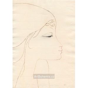 Dívčí profil přimhuřující oči, opus 644