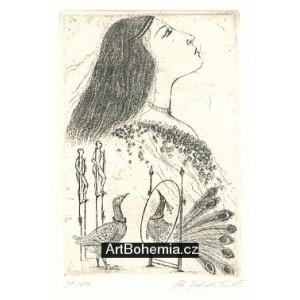 Dívčí profil s pávem