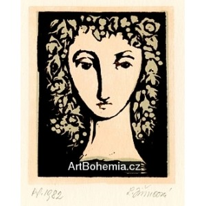 Dívčí hlava v květinách, opus 1133 - PF 1982 Ludmila Jiřincová