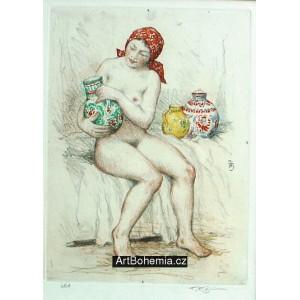 Dívčí akt s džbánem