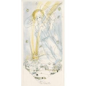 Anděl a padající hvězda nad zimní krajinou I