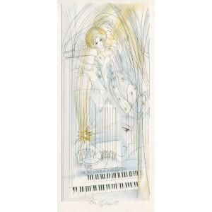 Anděl, varhany a padající hvězda v kostele