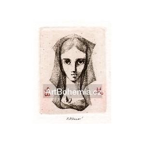 Dívčí hlava s motýlkem na hrudi, opus 1247