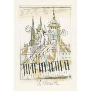 Praha muzikální - Tři slavíci, lyra a klaviatura před věžemi