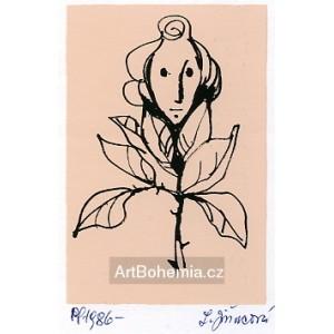 Dívčí obličej v květu růže, opus 1199 - PF 1986 Ludmila Jiřincová
