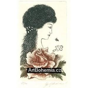 Dívka s růží a motýlkem