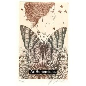 Dívčí profil s motýlky