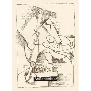 Zátiší s rybami a časopisem (1933)