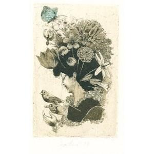 Dáma s ptáčkem a květinami ve vlasech