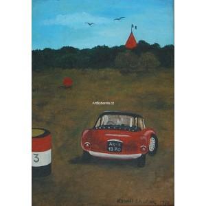 Červená Alfa Romeo v mé krajině