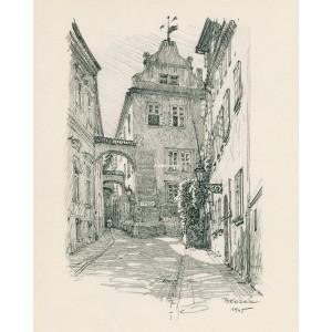 """Dům """"U zlatého kapra"""" v Thunově ulici (1945)"""
