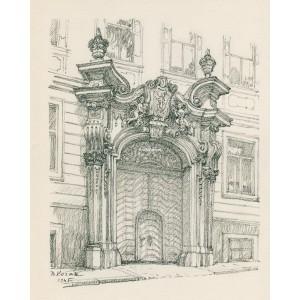 Portál na bývalém jesuitském gymnásiu (1945)