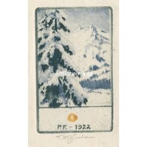 Horská krajina v zimě - PF 1922 T.F.Šimon