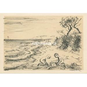 Dvě děti na pobřeží