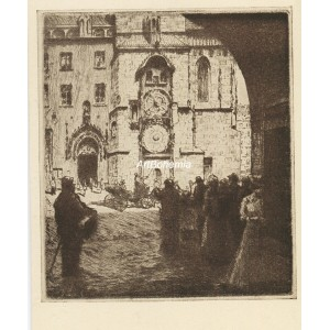 Před Staroměstským orlojem (Praha 1911)