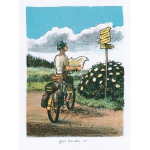 Cyklista u rozcestníku