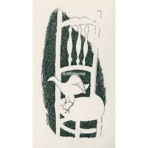 Bílý pták na židli II