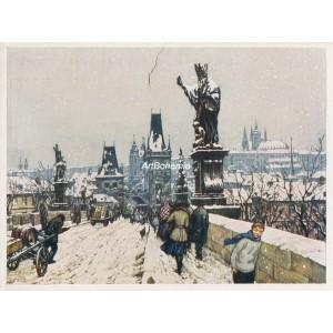 Karlův most a Hradčany v zimě