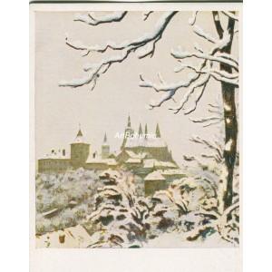 Hradčany z Chodkových sadů v zimě