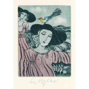 Dvě dívky se žlutým ptákem