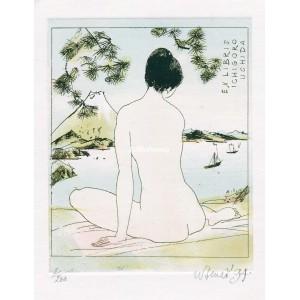 Sedící dívčí akt japonečky u jezera