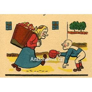 Babka s nůší jablek