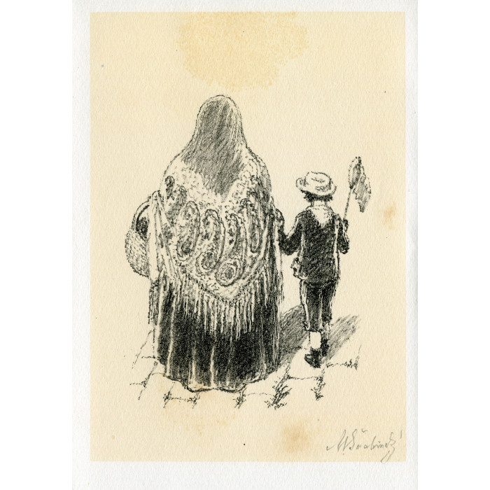 Babička a chlapec se síťkou na motýly, opus 566