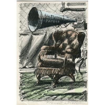Gramofón s troubou nad ušákem