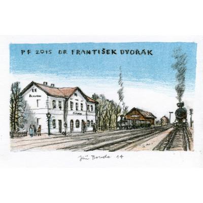 Železniční stanice s přijíždějící stařičkou lokomotivou