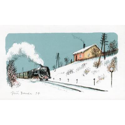 Vlak u zasněžené stráně
